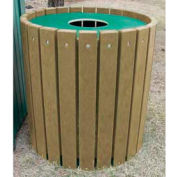 Heavy Duty Round Receptacle, Recycled Plastic, 32 Gal., Cedar