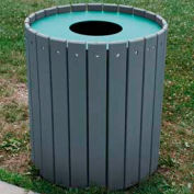 Standard Round Receptacle, Recycled Plastic, 32 Gal., Gray