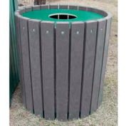 Heavy Duty Round Receptacle, Recycled Plastic, 32 Gal., Gray