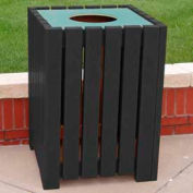 Heavy Duty Square Receptacle, Recycled Plastic, 32 Gal., Black