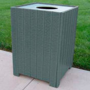 Standard Square Receptacle, Recycled Plastic, 32 Gal., Gray