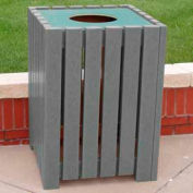 Heavy Duty Square Receptacle, Recycled Plastic, 32 Gal., Gray
