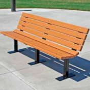 Frog Furnishings Recycled Plastic 4 ft. Contour Bench, Cedar Bench/Black Frame