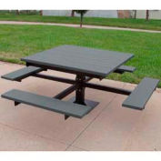 T-Table, Recycled Plastic, 4 ft, Gray