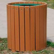 Standard Round Receptacle, Recycled Plastic, 55 Gal., Cedar