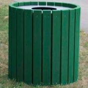 Heavy Duty Round Receptacle, Recycled Plastic, 55 Gal., Green