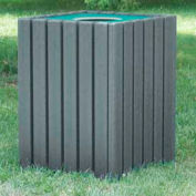 Heavy Duty Square Receptacle, Recycled Plastic, 55 Gal., Gray