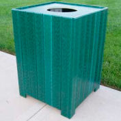 Standard Square Receptacle, Recycled Plastic, 55 Gal., Green