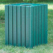 Heavy Duty Square Receptacle, Recycled Plastic, 55 Gal., Green