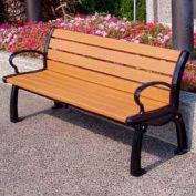 Frog Furnishings Recycled Plastic 5 ft. Heritage Bench, Cedar Bench/Black Frame