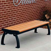 Heritage Backless Bench, Recycled Plastic, 6 ft, Black Frame, Cedar