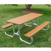 Galvanized Frame Picnic Table, Recycled Plastic, 6 ft, Cedar