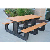 Jayhawk Recycled Plastic 6 Ft. Park Place Picnic Table, Cedar