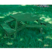 Hex Table, Recycled Plastic, 6 ft, Green Frame, Green, ADA