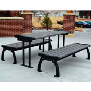 Heritage Table, Recycled Plastic, 6 ft, Black Frame, Gray
