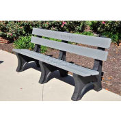 Colonial Bench, Recycled Plastic, 6 ft, Gray
