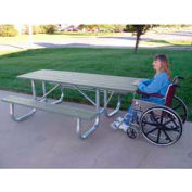 Galvanized Frame Picnic Table, Recycled Plastic, 6 ft, Gray, ADA