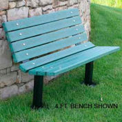 Contour Bench, Recycled Plastic, 6 ft, In Ground Mount, Green