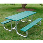 Galvanized Frame Picnic Table, Recycled Plastic, 6 ft, Green