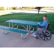 Galvanized Frame Picnic Table, Recycled Plastic, 6 ft, Green, ADA