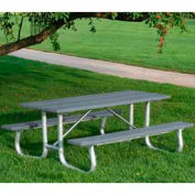 Galvanized Frame Picnic Table, Recycled Plastic, 8 ft, Gray