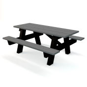 Global Industrial™ 6 ft. Recycled Plastic A-Frame Rectangular Picnic Table - Gray