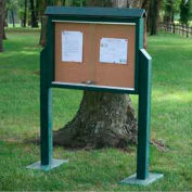 "Jayhawk Plastics Medium Message Center, Recycled Plastic, Two Sides, Two Posts, Green, 36""W x 26""H"