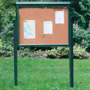 "Jayhawk Plastics Large Message Center, Recycled Plastic, One Side, Two Posts, Green, 51""W x 36""H"
