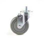 "GD Swivel Threaded Stem Caster 4"" PU on Cast Iron Wheel Tread Brake, Roller Bearing, 3/8x1 Stem, Red"