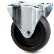 """HD Rigid Caster 4"""" Mold On Rubber on Cast Iron Wheel, Delrin Bearing, 4""""x4-1/2"""" Plate, Black"""