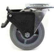 "Heavy Duty Swivel Caster 4"" TPR Wheel Nylon Brake, Roller Bearing, 4"" x 4-1/2"" Plate, Grey"