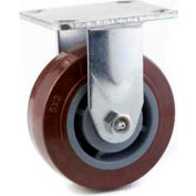"""General Duty Rigid Plate Caster 5"""" PU on Cast Iron Wheel, Roller Bearing, 3-1/8"""" x 4-1/8"""" Plate, Red"""
