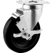 "GD Swivel Plate Caster 5"" Hard Rubber Wheel Tread Brake, Nylon Bearing, 2-3/4""x3-3/4"" Plate, Black"