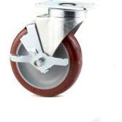 "GD Swivel Plate Caster 5"" PU on PP Wheel Brake, Single Ball Bearing, 2-3/4""x3-3/4"" Plate, Grey"