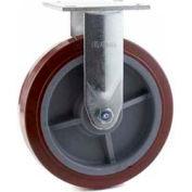 "Heavy Duty Rigid Caster 8"" PU on Aluminum Wheel , Roller Bearing, 4"" x 4-1/2"" Plate, Red"
