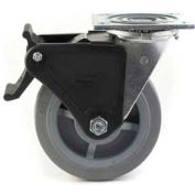 "Heavy Duty Swivel Caster 8"" TPR Wheel Total Lock Brake, Roller Bearing, 4"" x 4-1/2"" Plate, Grey"