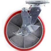 "HD Swivel Caster 8"" PU on Cast Iron Wheel Tread Brake, Roller Bearing, 4""x4-1/2"" Plate, Red"