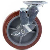 "HD Swivel Caster 8"" PU on Aluminum Wheel Tread Brake, Delrin Bearing, 4""x4-1/2"" Plate, Red"