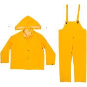 Enguard 3-Piece Rainsuit, 35 mil PVC/Polyester, Snap Closure, Yellow, L