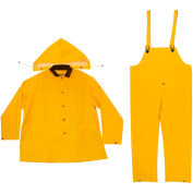 Enguard 3-Piece Heavy Duty Rainsuit, 35 mil PVC/Polyester, Snap Closure, Yellow, 4XL