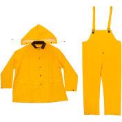 Enguard 3-Piece Heavy Duty Rainsuit, 35 mil PVC/Polyester, Snap Closure, Yellow, M