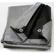 BOEN ST-1216 Tarp, 14x14 Weave, 12' x 16', Silver/Black