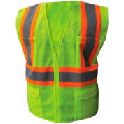 Enguard Class 2 Safety Vest with Zipper Closure, 6 Pockets, Polyester Mesh, Lime, L