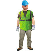 Enguard Class 2 Flame Retardant Safety Vest, Zipper Closure, 5 Pockets, Polyester Mesh, Lime, 2XL
