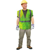 Enguard Class 2 Flame Retardant Safety Vest Touch Fastener Closure 5 PKTS Polyester Mesh Lime 5XL