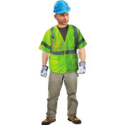 Enguard Class 3 Safety Vest with Touch Fastener Closure, 5 Pockets, Polyester Fabric, Lime, XL