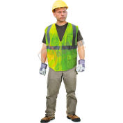 Enguard Class 2 Safety Vest with Zipper Closure, 5 Pockets, Polyester Mesh, Lime, XL