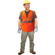 Enguard Class 2 Safety Vest with Touch Fastener Closure, No Pockets, Polyester Mesh, Orange, L