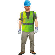 Enguard Class 2 Safety Vest with Touch Fastener Closure, No Pockets, Polyester Fabric, Lime, XL