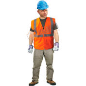 Enguard Class 2 Safety Vest with Touch Fastener Closure, No Pockets, Polyester Fabric, Orange, XL
